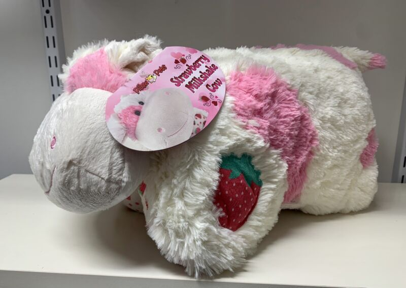 """🐄Pillow Pets Strawberry Milkshake Cow Sweet Scented Pet 18"""" New FREE SHIPPING"""