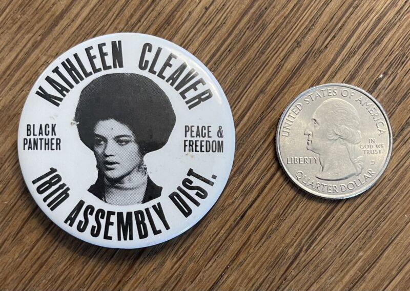 Vintage 68 Black Panther Party Kathleen Cleaver Assembly Peace & Freedom Button