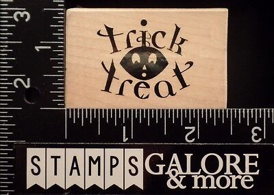 JRL USED RUBBER STAMPS HALLOWEEN TRICK OR TREAT SCARY FACE #1745