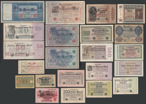 GERMANY 22 different pieces German Banknotes Empire to third Reich