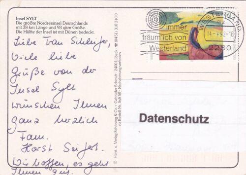 Details zu Urlaubsgrüße von der Insel Sylt ,Ansichtskarte, 1992 gelaufen