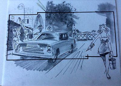 DRAGNET'87 ORIGINAL STORYBOARD ART CARL ALDANA HANKS ACKROYD MOVIE DRIVEWAY GIRL
