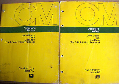 2 John Deere Operators Manuals 165 Backhoe For 3-point Hitch Tractors Lot 470
