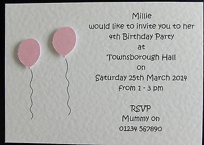 10 Handmade Personalised Birthday Invitations Girl/Boy 1st 2nd 3rd 4th 5th 6th  - First Birthday Invitations Girl