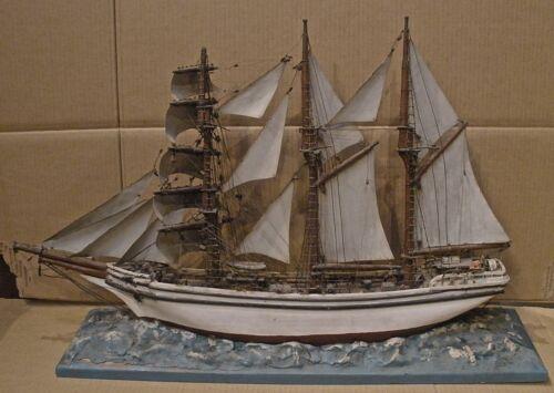 Antique Ship Model Maritime Nautical Folk Art Waterline Model
