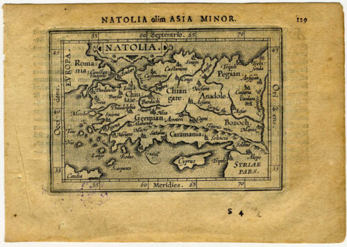 1609 Genuine Antique miniature map Natolia, Asia minor, Turkey. by A. Ortelius