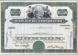 Sinclair-Oil-Corporation-Stock-certificate-Green-1960s