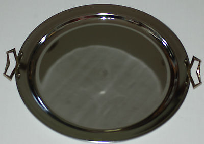 """Vitg Large Chrome 19"""" Round Serving Tray by Kromex ~ Made in U.S.A. in GUC"""
