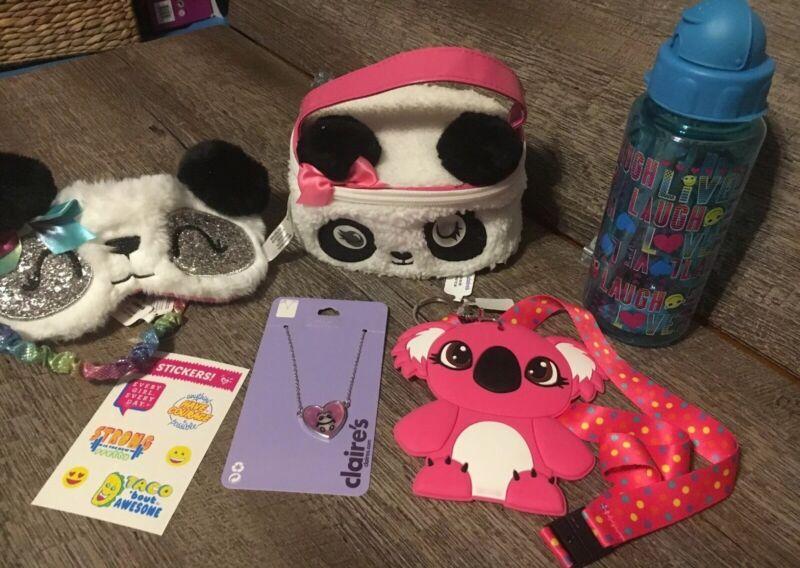 Claire's Panda Cosm Bag Jewelry Eye Mask Lanyard Justice Sticker Lot