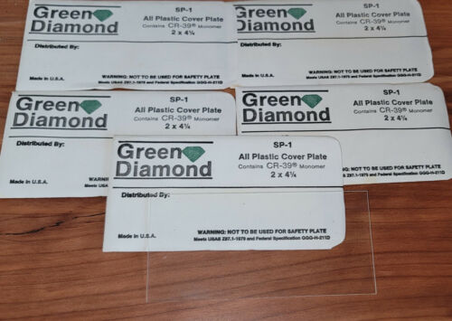 """(5) NOS Green Diamond SP-1 Welding Lens All Plastic Cover Plate 2""""x4.25"""" Clear"""