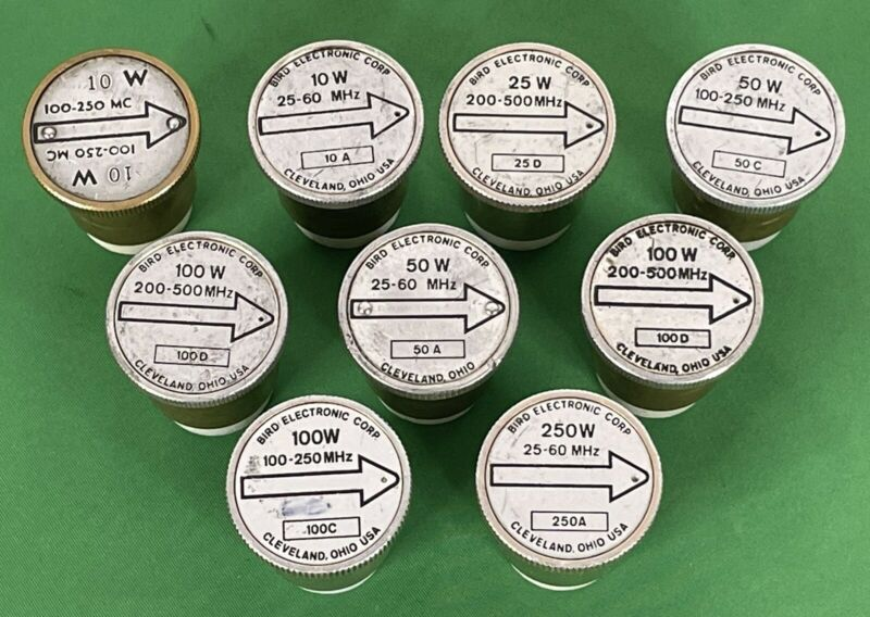 Lot of 9 Bird Wattmeter Element Slugs 10W, 25W, 50W, 100W 250W