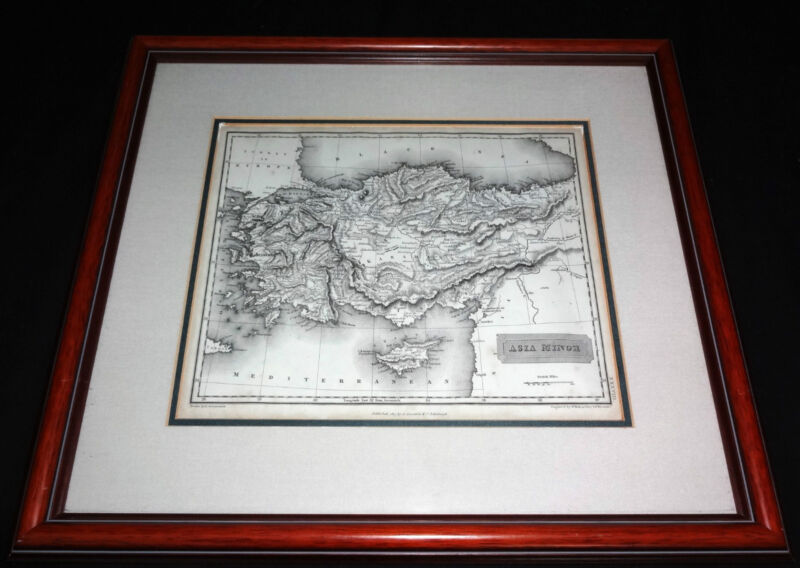 1817 BRITISH FRAMED MAP of ASIA MINOR - DRAWN ARROWSMITH/ ENGRAVED S.Y. HALL(***