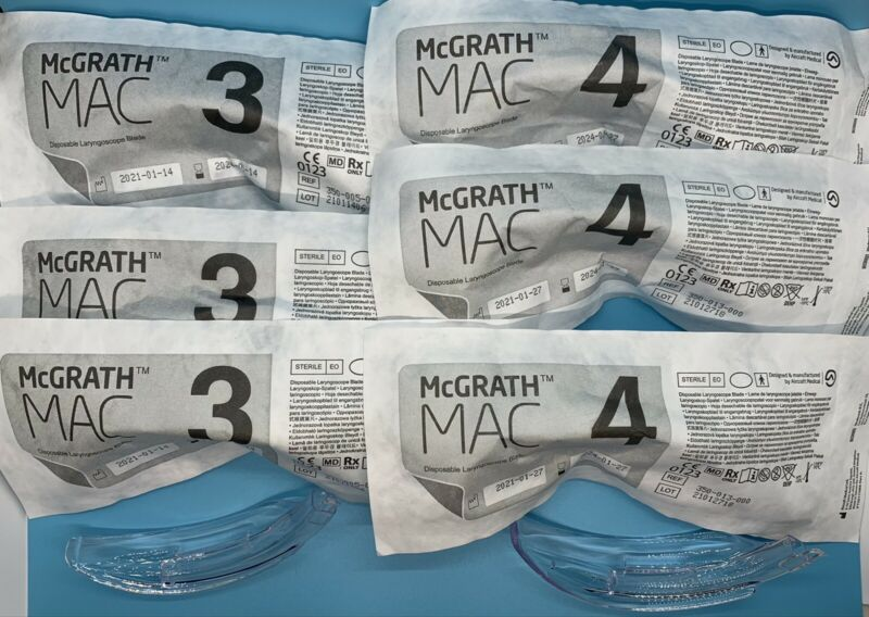 McGrath Video Laryngoscope MAC 3 & 4 Disposable Blades (6 pack)