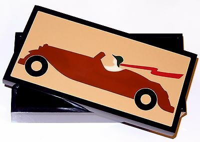 ACRYLIC LUCITE Box Fashion Lady Driving 1920s Car Albrizzi Italy Art Deco