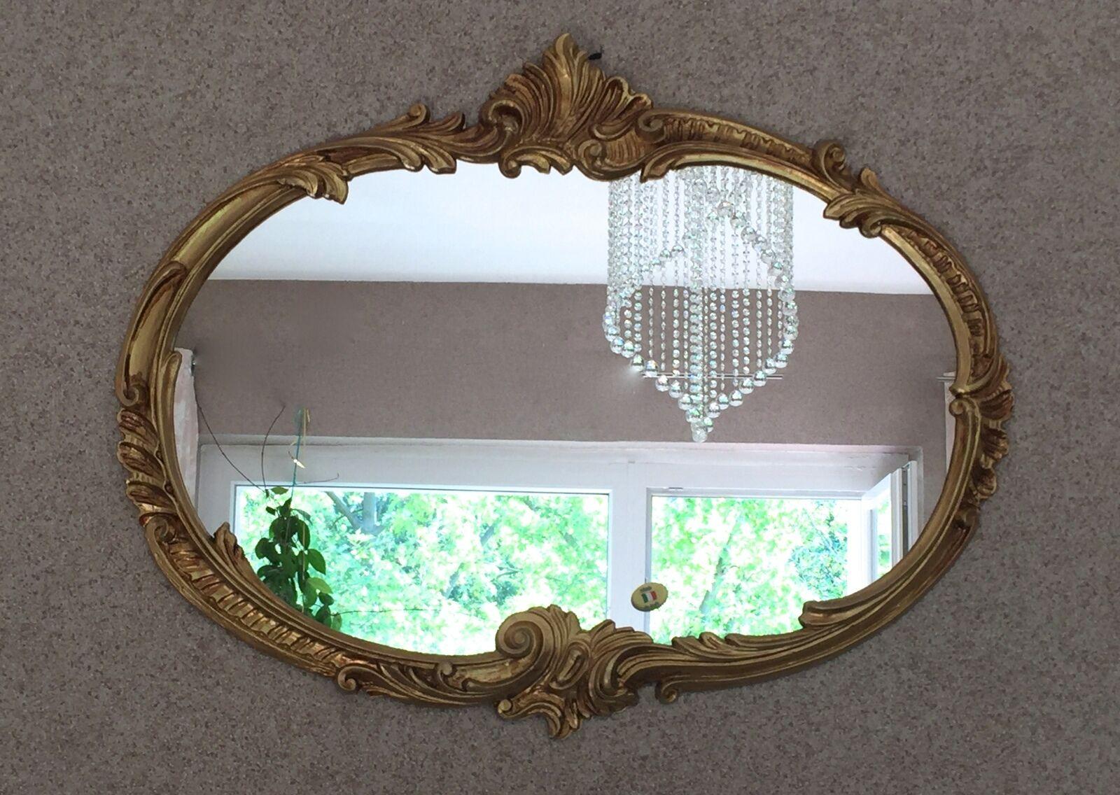 wandspiegel barock oval antik gold 52x42 badspiegel. Black Bedroom Furniture Sets. Home Design Ideas