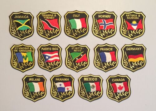 """LOT OF 14 COUNTRY Travel Souvenir 3"""" PATCHES Italy Mexico France Puerto Rico +++"""