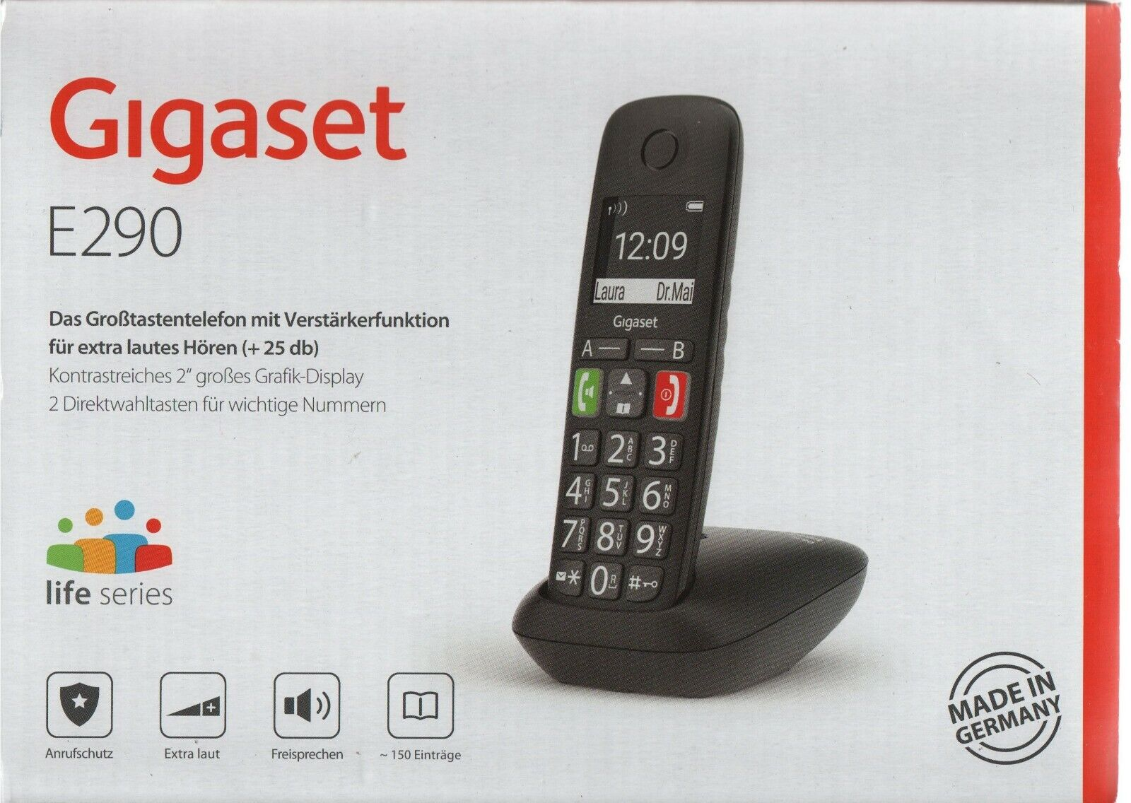 Gigaset E290 schnurloses-/ DECT-/ Analog Telefon schwarz