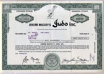 Jerome Mackey's Judo Inc. Stock Certificate New York Karate
