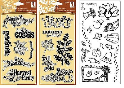 3 Sets Thanksgiving Stamps, Fall, Harvest, Thankful, Pumpkins, Leaves, - Thankful Turkey Craft