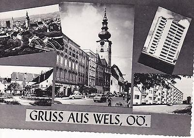 AK Wels Oberösterreich Mehrbildkarte Kirche Burg Hochhaus 1961