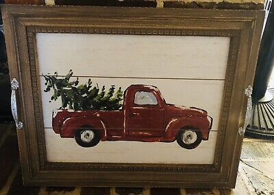 Large CHRISTMAS FARMHOUSE RED TRUCK WITH TREE PICTURE Tray With Handles