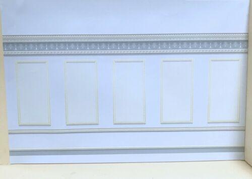 Dollhouse Miniature Grey Panel Wallpaper