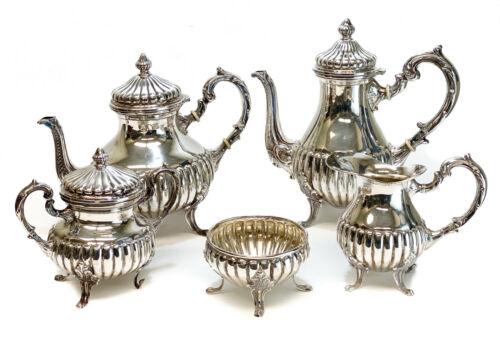 Camusso Peru Sterling Silver 5 Piece Tea Service, circa 1940. Neoclassical