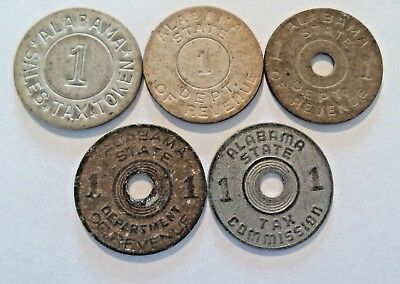 Lot of 5 Alabama State Dept. of Revenue Tax Tokens