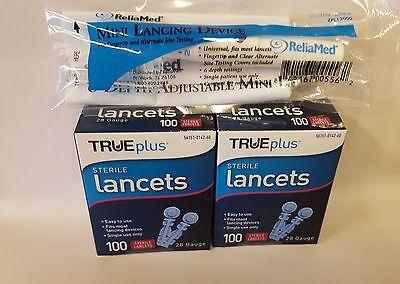 200 TRUEplus Diabetic Test Lancets 28 Gauge, with FREE Adjustable Lancing Device