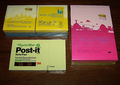 10 Post-it Notes Pads -various- 3 X 3 3 X 5 4 X 6pop-upsuper Stickyrecycled