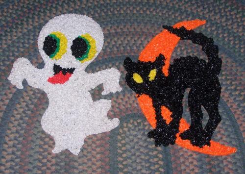Vintage Melted Plastic Popcorn Halloween  Decorations Black Cat on Moon & Ghost