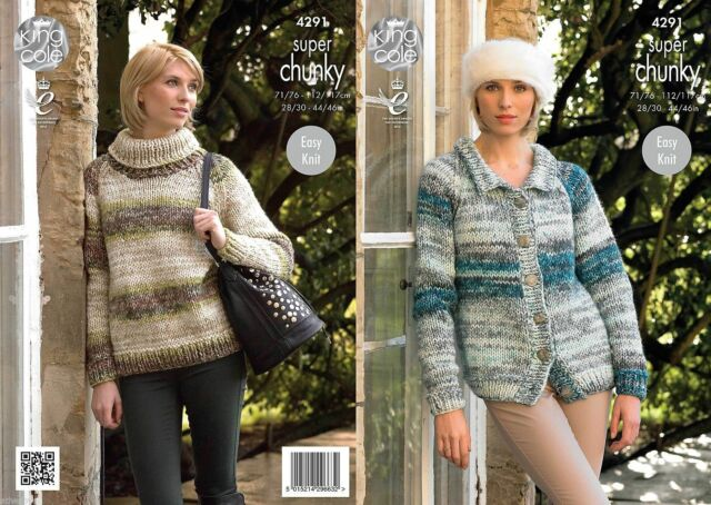King Cole Super Chunky Knitting Pattern 4291: Easy Knit Sweater & Cardigan