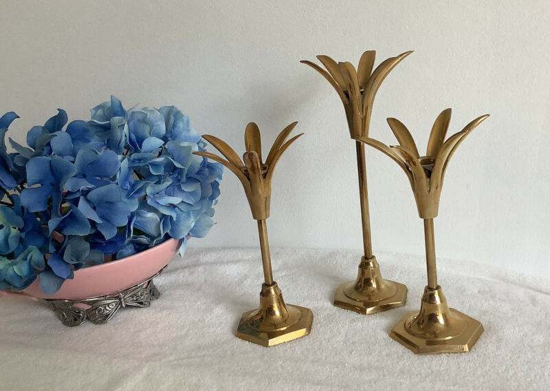 3 Vintage Brass Art Deco/ Mid Century Modern Palm Springs Candle Stick Holders