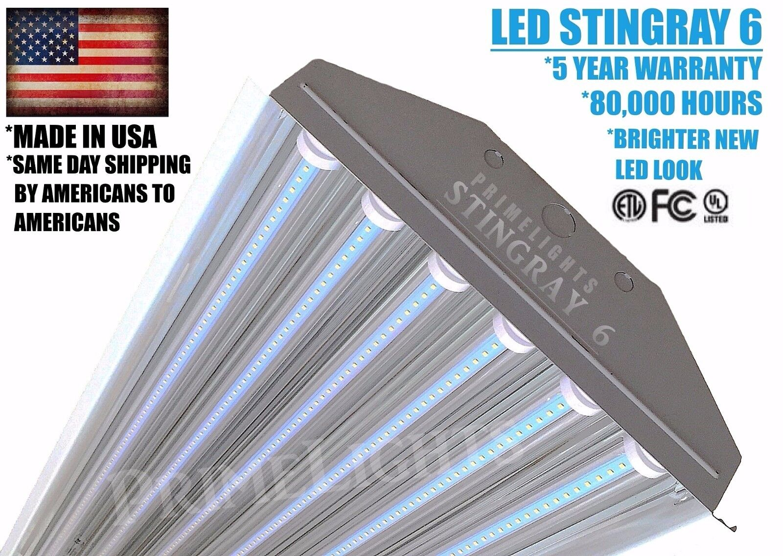 6 Lamp LED Shop Garage Utility Light Fixture 130lm / Watt 4F