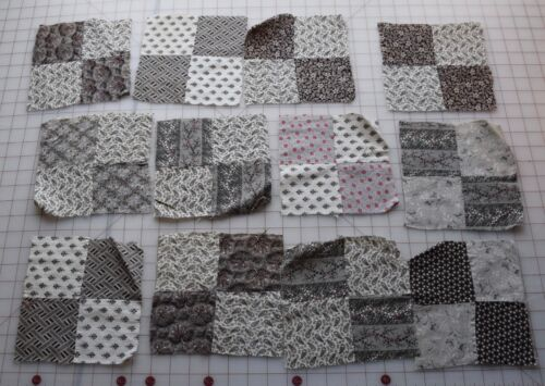 7024 10 antique 4 Patch quilt blocks, beautiful mill engraving shirtings, floral