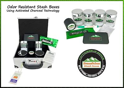 Executive Leather Smell Proof Stash Box, Grinder with Tray, Write & Wipe Jars  (Leather Stash Tray)