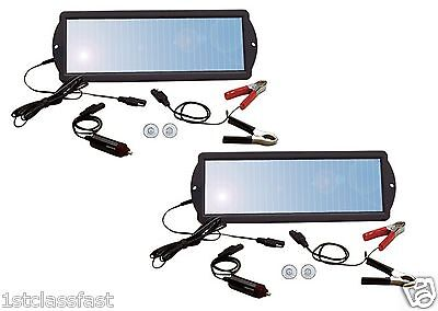 LOT OF 2 WEATHERPROOF 1.5WATT 12VOLT SOLAR PANEL 12V BATTERY CHARGER MAINTAINER on Rummage