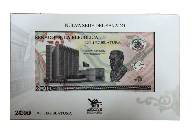 Fabolous Specimen Scarce Bank Note Banxico Centennial Revolution