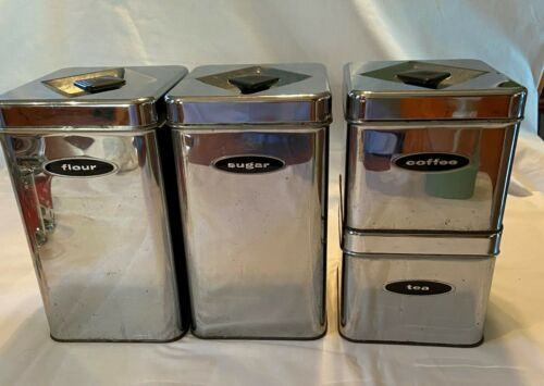 MCM Vintage 50s Masterware Canette Chrome Canisters Flour, Sugar, Tea, Coffee