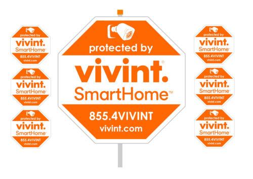 "VIVINT security yard sign 10"" x10"", 28"" aluminum pole 6 window decals"