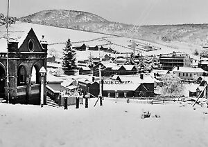 Omeo Post Office in Snow, Day Ave & Botany St c1900 Victoria Australia