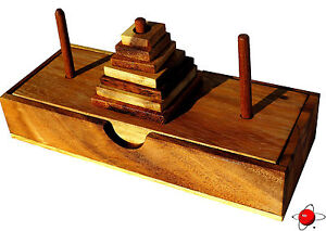 TOWER OF HANOI 7 SQUARE - Wood  Brain Teaser Wooden Puzzle NEW - Mind Bender 3D