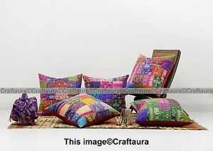 Set of 5 Pillow Cover Throw Kantha Cushion Indian Pillows Gypsy Pillow Boho 16