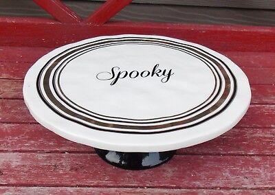 Halloween Pedestal Cake Stand (Halloween Pedestal Cake/Cupcake Stand Ceramic Black/Gold Dessert Plate)