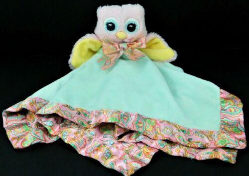 BEARINGTON BABY Plush Owl Rattle Lovey Satin Pink Paisley Soft Security Blanket