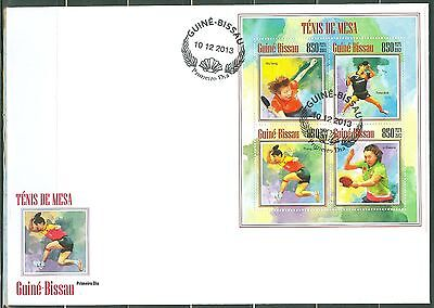 GUINEA BISSAU 2014 TABLE TENNIS PING PONG SHEET OF FOUR STAMPS FDC