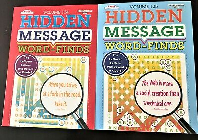 Lot of 2 Hidden Message Word-Find Puzzle Books 124/125 by Kappa - Brand New!