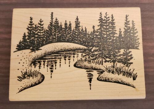 Rubber Stamp Forest Trees River Creek Water Woods Grass - $9.99