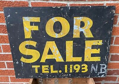 "Antique Vintage Circa 1915 Metal ""For Sale Sign 1193 NB"" Wood Frame Real Estate"