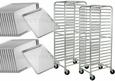 24 Pack Full Size 18 X 26 Pans Two 20 Pan Rack Commercial Dough Baking Bun